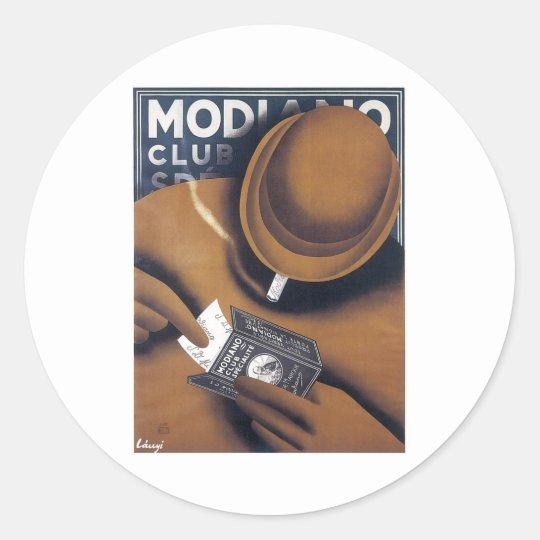 MODIANO Vintage Cigarette ad Art Poster print Classic Round Sticker