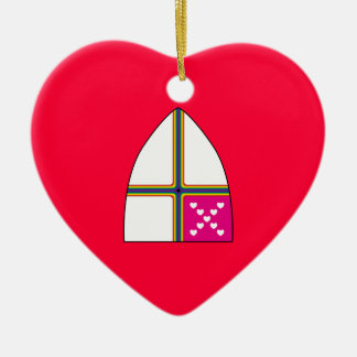 Modified Episcopal shield Double-Sided Heart Ceramic Christmas Ornament