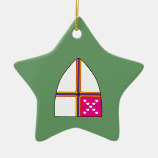Modified Episcopal shield Double-Sided Star Ceramic Christmas Ornament
