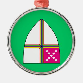 Modified Episcopal shield Round Metal Christmas Ornament