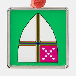 Modified Episcopal shield Square Metal Christmas Ornament
