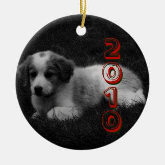 MODIFIQUE el primer navidad de su perrito para Adorno Navideño Redondo De Cerámica