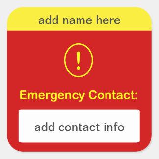 MODIFIQUE ESTE contacto de la emergencia para Pegatina Cuadrada