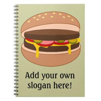 Modifique este gráfico de la hamburguesa para requ libros de apuntes con espiral
