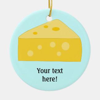 Modifique este gráfico grande del queso para adorno navideño redondo de cerámica