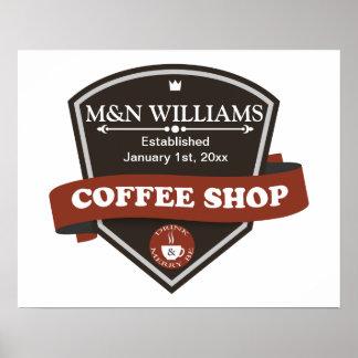 Modifique su logotipo conocido de la cafetería póster