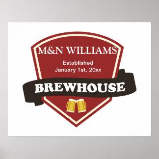 Modifique su logotipo conocido de la cervecería póster