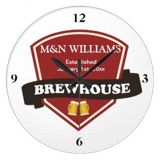Modifique su logotipo conocido de la cervecería reloj redondo grande