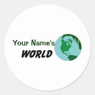 Modifique su mundo para requisitos particulares pegatina redonda
