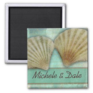 Modifique su propio diseño del seashell para imán cuadrado