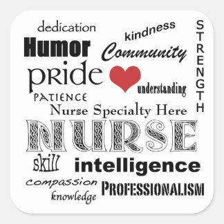 Modifique sus Tipo-Cualidades de la enfermera para Calcomanías Cuadradases