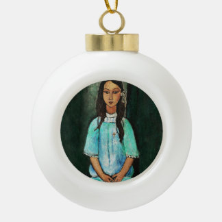 Modigliani Alice Vintage Fine Art Painting Ceramic Ball Christmas Ornament
