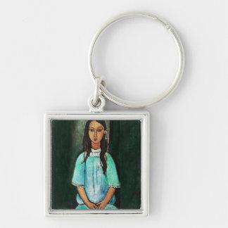 Modigliani Alice Vintage Fine Art Painting Silver-Colored Square Keychain