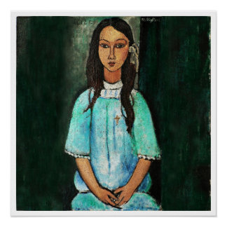 Modigliani Alice Vintage Girl Painting Italian Art Perfect Poster