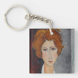 Modigliani Amedeo Portrait Single-Sided Square Acrylic Keychain