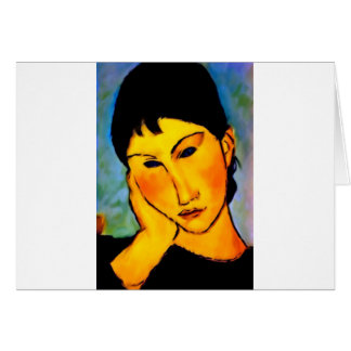 modigliani elvira-resting-at-a-table greeting cards