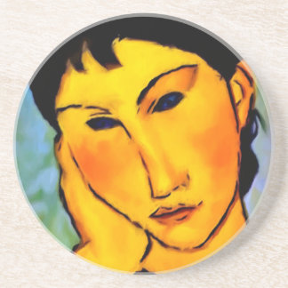 modigliani elvira-resting-at-a-table beverage coasters