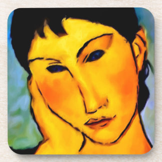 modigliani elvira-resting-at-a-table beverage coaster