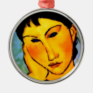 modigliani elvira-resting-at-a-table metal ornament