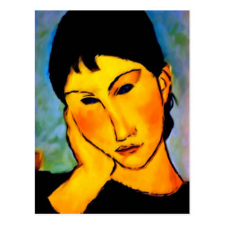 modigliani elvira-resting-at-a-table post card