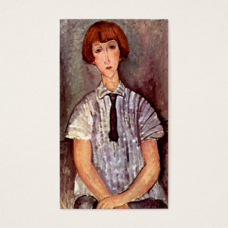 Modigliani portrait Young Girl in Striped Blouse Business Card