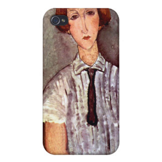Modigliani portrait Young Girl in Striped Blouse iPhone 4 Cases