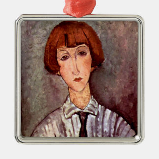 Modigliani portrait Young Girl in Striped Blouse Metal Ornament