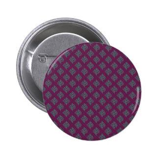 Modish blue leafs on retro purple background button