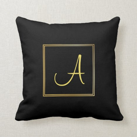 Modish Handwriting Text Initial A Gold Monogram Throw Pillow