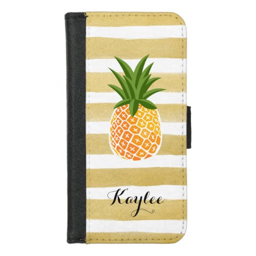 Modish Pineapple with Gold Stripes Monogram Name Phone Case