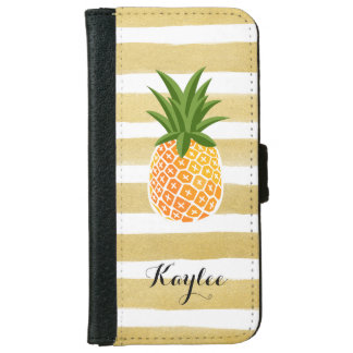 Modish Pineapple with Gold Stripes Monogram Name Wallet Phone Case For iPhone 6/6s