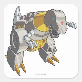 Modo de Grimlock Dino Pegatina Cuadrada