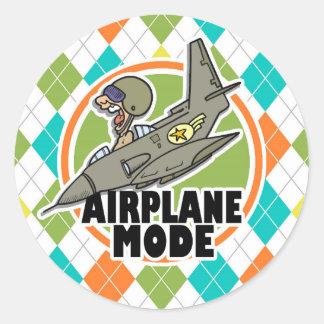 Modo del aeroplano; Modelo colorido de Argyle Pegatina Redonda