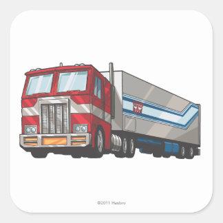 Modo del camión de Optimus Pegatina Cuadrada