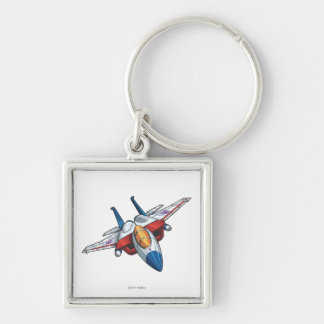 Modo del jet de Starscream Llavero Cuadrado Plateado