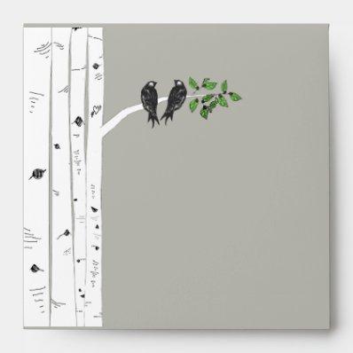Modrn Birch Tree Wedding Square Envelopes