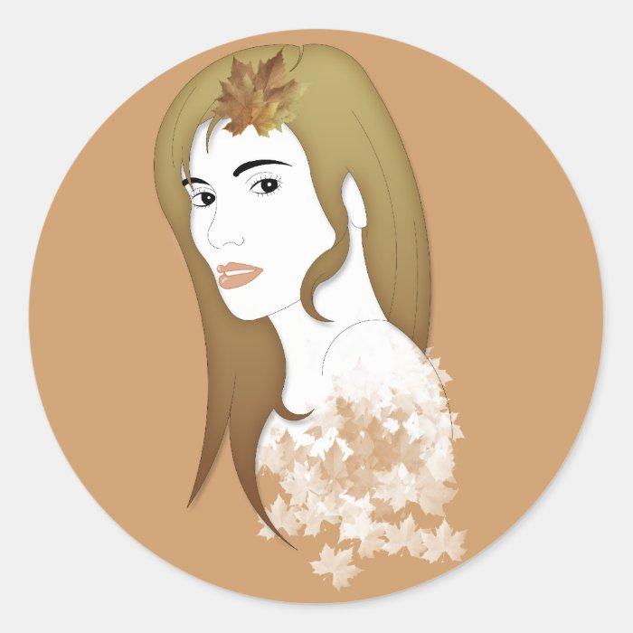 Modron the Celtic goddess of autumn Classic Round Sticker