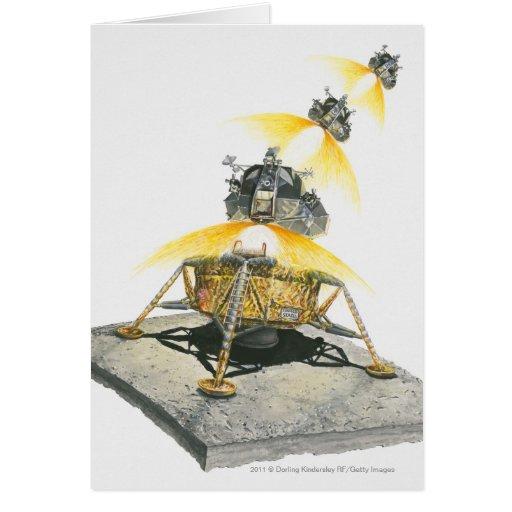 Módulo de Apolo 11 Eagle que saca de la luna Felicitaciones