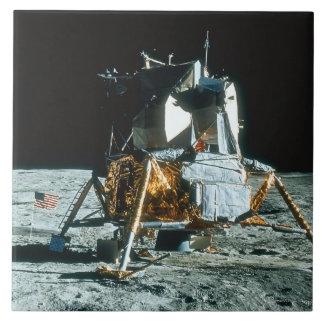 Módulo lunar en la luna azulejo cuadrado grande
