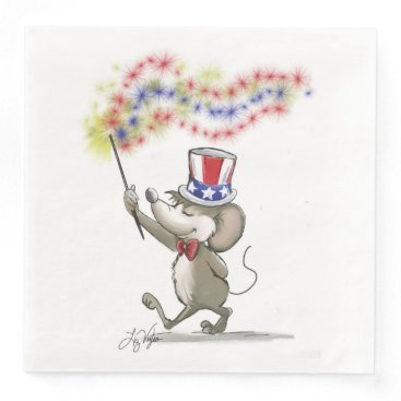 USA Themed Moe's Happy 4th of July Paper Napkin