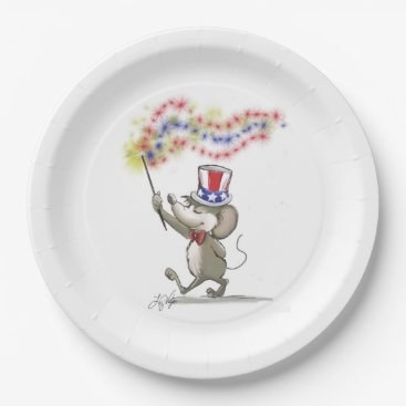 USA Themed Moe's Happy 4th of July Paper Plate