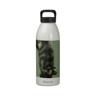 Mofeta manchada objeto expuesto del museo botella de agua