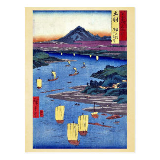 Mogami River and Gassan mountain by Ando,Hiroshige Postcards