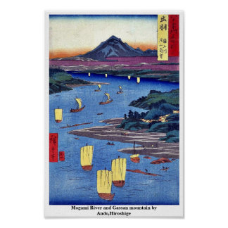 Mogami River and Gassan mountain by Ando,Hiroshige Print