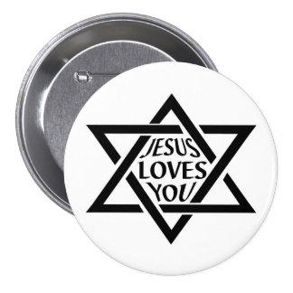 Mogan David Star - Jesus Loves You 3 Inch Round Button