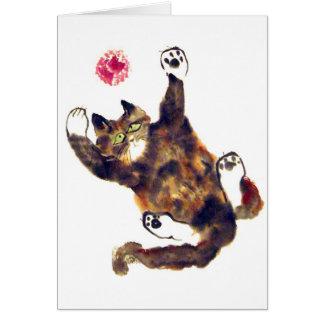 Moggie Merriment for the Calico Kitten Greeting Card
