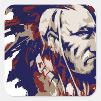 Mohawk del nativo americano pegatina cuadrada