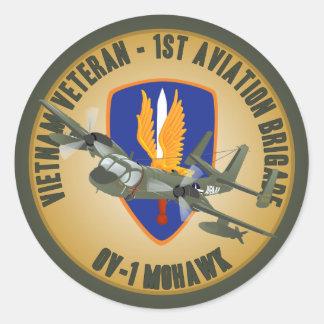 Mohawk del veterano de Vietnam Etiqueta Redonda