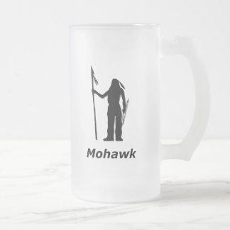 Mohawk indio jarra de cerveza esmerilada