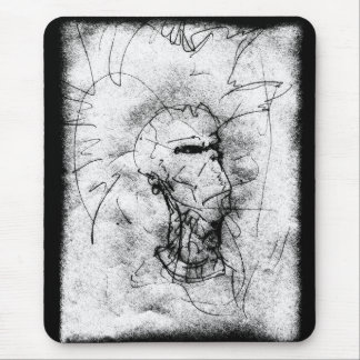 Mohawk Punk Rocker black and white Drawing Mouse Pad